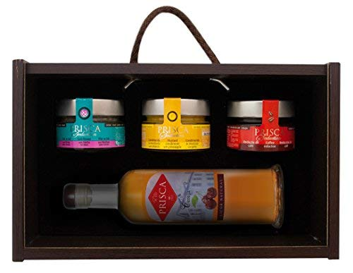 Confezione Gourmet – Senape all'Ananas – Fior di Sale – Riduzione di Caffè – Liquore di Ciliegie