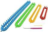 Wayion Knitting Loom Set with Hook Needle Kit Yarn Cord Knitter 4 Hat Looms Long Knitting Loom DIYfor Scarf Sweater Shawl Blankets