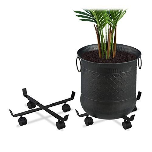 Relaxdays Pflanzenroller ausziehbar, 2er Set, innen & außen, Rolluntersetzer für Blumentopf bis 43 cm Ø, Metall, schwarz, 2 Stück