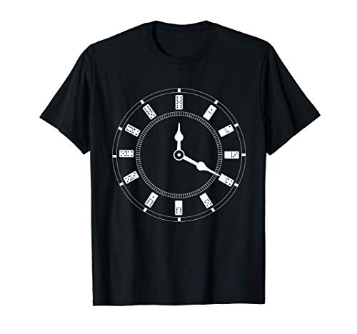 Domino-Fan-Uhr Domino-Spieler Kachelbrett-Spielfreund T-Shirt