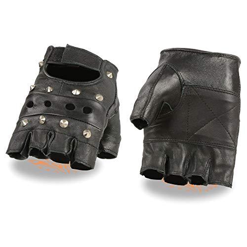 Milwaukee Leather SH211 Men's 'Studded' Black Leather Fingerless Glove with Padded Palms - Medium
