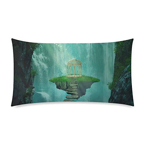 Nijio Fantasy Island with Gazebo Floating in The Space Home Decor Pillow Cover Case with Zipper, Pillowcase Protector for Bedroom Sofa, King Size 20x36 Inch