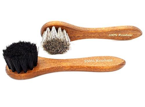 DELARA Zwei hochwertige Cremebürsten aus lackiertem Holz mit weichem Rosshaar, zum Auftragen Schuhcreme auf Schuhe, Taschen etc. aus Glattleder - Made in Germany