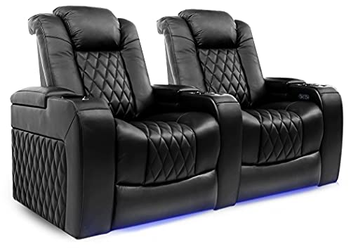Valencia Tuscany Home Theater Seating | Premium Top Grain Italian Nappa 11000 Leather, Power Reclining, Power Lumbar Support, Power Headrest (Row of 2, Black)