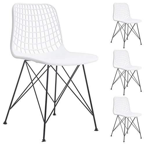 IDIMEX Esszimmerstuhl Gloria im Retro Design, Stühle Küchenstuhl Essstühle Armlehnstuhl, im 4er Set, Kunststoff in weiß