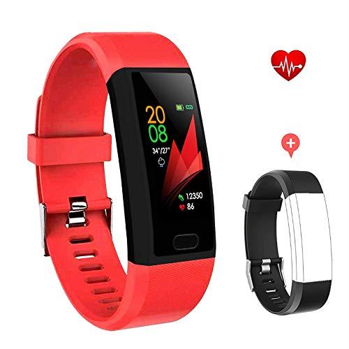F-FISH Fitness Tracker Monitor de frecuencia cardíaca, Smart Watch Fitness Tracker Watch Hombres Mujeres Smart Watch Muñeca Heart Rate Monitor Podómetro Smart Band Sports Activity Tracker (Rojo)