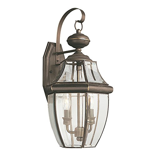 Sea Gull Lighting 8039-71 Lancaster Two-Light Outdoor Wall Lantern With Clear Curved Beveled Glass Panels, Antique Bronze Finish