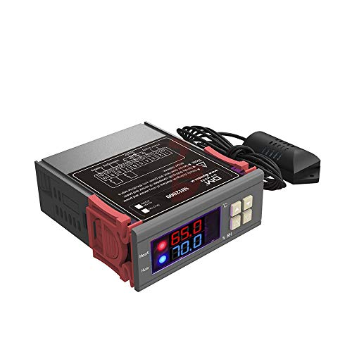 ATNEETControlador digital de temperatura y humedad Incubadora de cerveza en interiores Termostato Humidistato Therometer HigrómetroSTC-1000 DC 12V Color de foto