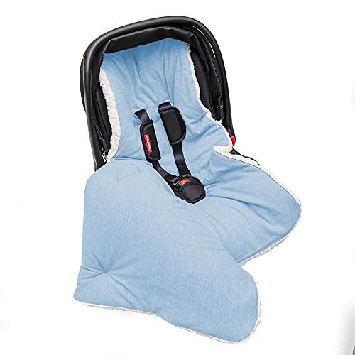 Saco Porta Bebê, Capa e Colchonete de Carrinho e Bebê Conforto 3 em 1 Hipoalergênico Malha Azul e Sherpa Palha