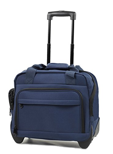 CM-0034-NA - Members Essential On-Board Navy Lightweight Laptop Case on Wheels