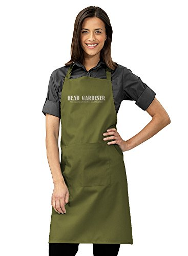 "Women's ""Head Gardener"" Printed Gift Apron by AdHoc Originals. One Size adjustable, with Pocket (Olive)"