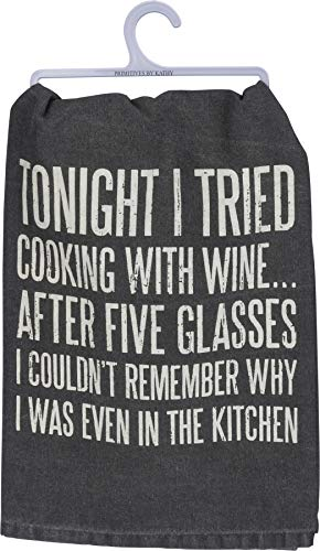 Primitives by Kathy 37206 Classic Black and White Dish Towel, 28 x 28-Inches, I Tried Cooking with Wine