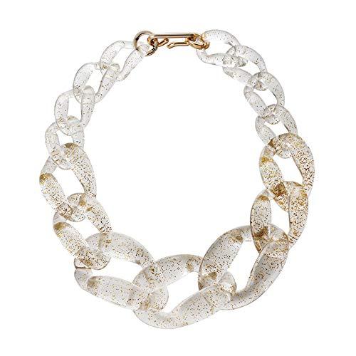 NICEWL Frauen Acryl Klobige Statement-Kette,Fashion Twist Collar Transparent Resin Choker,Handgefertigte Schnalle Chain Link Schmuck