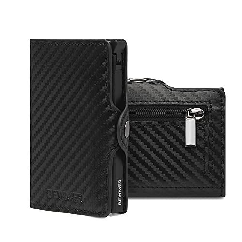 Bewmer - Cartera rígida para tarjetas de crédito para hombre con protección RFID, tarjetero blindado y anticlonación Miniwallet, Carbon Black Zip,