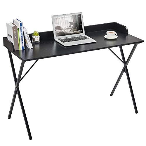 Black Computer Desk, Alecono 47' Sturdy Writing Desk with Raised Edge Easy Assemble Metal Frame Study Desk for Home Office Writing Workstation, Black