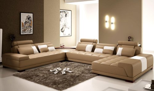 Monte Contemporary Leather Taupe Sectional Sofa