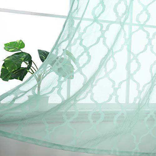 Selectex Miss Faux Linen Geometric Semi Sheer Curtain - Moroccan Tile Lattice Quatrefoil Window Curtains for Living Room and Bedroom, Set of 2 Curtain Panels (52 x 84 Inch, Aqua)