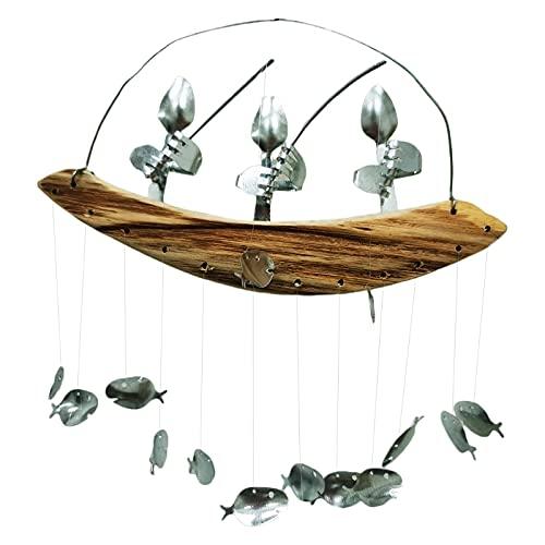 Fishing Man Wind Chime Spoon Fish Sculpture Windchime Hanging Garden Decoration Cinnamon Shaker