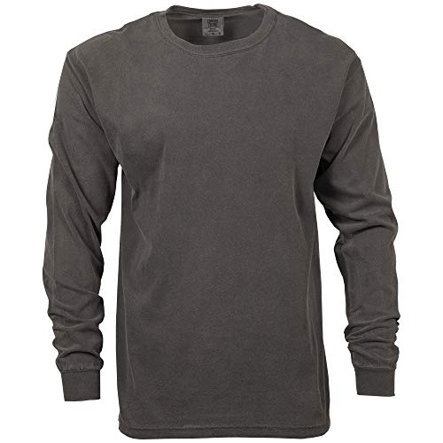 Comfort Colors Men's Adult Long Sleeve Tee, Style 6014, Pepper, X-Large