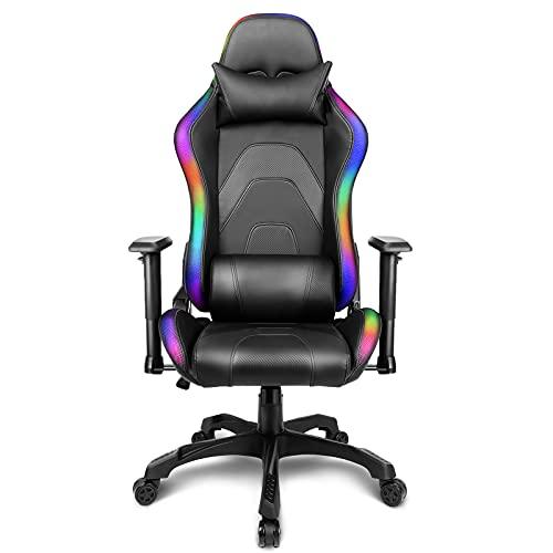 Gaming Stuhl LED Beleuchtung Schreibtischstuhl Gaming RGB Stuhl Beleuchteter Bürostuhl Ergonomischer Computerstuhl LED Gamer Stuhl, mit Wippfunktion, mit LED, Belasterbar bis 136KG, Schwarz