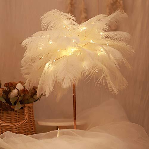 Watkings Hermosa pluma decorativa noche luz LED cobre cadena luz teledirigida para la decoración del dormitorio casero