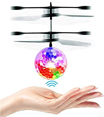 UTTORA Flying Ball, Kids Toys Remote Control Helicopter Ball Mini Drone Infrared Induction with Flashing LED Lights for Boys Girls Adults Toys