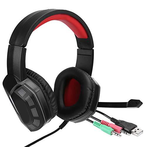 Caiqinlen Auriculares con micrófono Textura de Cuero Suave Diseño Profesional Aspecto Exquisito Auriculares con micrófono Oficina para el hogar(Black Red)