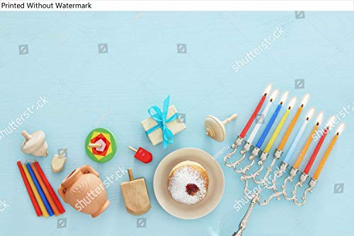KwikMedia Poster of Top View Image of Jewish Holiday Hanukkah Background with Traditional spinnig top, Menorah (Traditional Candelabra) and Burning Candles Variation Number 5