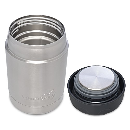 LunchBots Thermal 12 oz Triple Insulated Food Container - Hot 6 Hours or Cold 12 Hours - Leak Proof Thermos Soup Jar - All Stainless Interior - Black