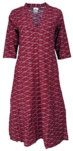 Guru-Shop, Lekka sukienka plażowa, sukienka maxi Ibiza sukienka, zielony, bawełna, rozmiar: jeden rozmiar, długie sukienki, Bordowy czerwony, S