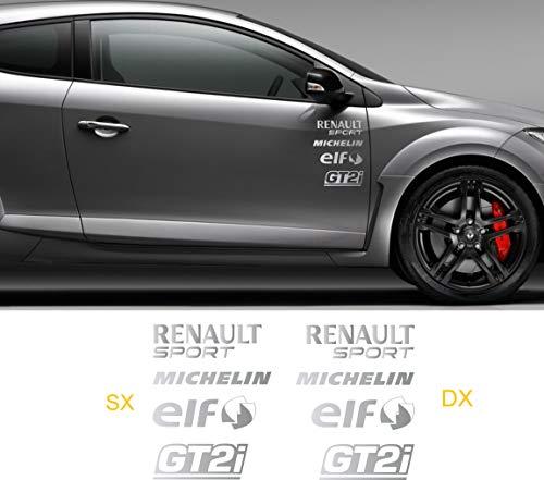 Pimastickerslab Sticker-Kit Renault Sport Clio Twingo Megane Captur -8 Aufkleber Tuning Auto- Wählen Sie SUBITO Colore- Car Pegatina Cod.0499, Argento cod. 090