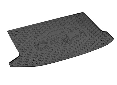 Passgenau Kofferraumwanne geeignet für Hyundai Kona ab 2017 ideal angepasst schwarz Kofferraummatte + Gurtschoner