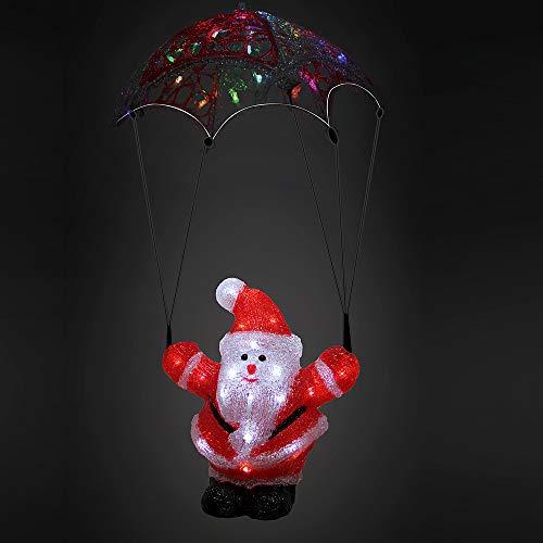 Deuba LED Acryl Figur Weihnachtsdeko Weihnachtsmann beleuchtet Weihnachten Deko Indoor Outdoor Weihnachtsfiguren