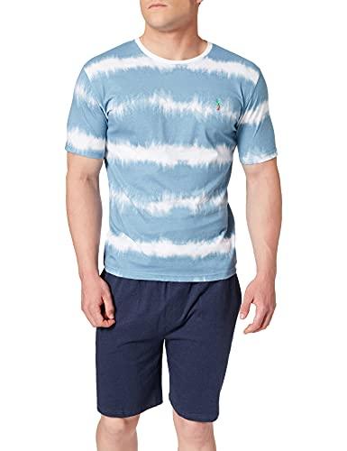 Springfield Pijama Corto Tie Juego, Azul Medio, M para Hombre