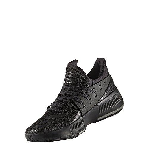 adidas Men's Dame 3 Basketball Shoe (10.5, Black/Black/Grey)