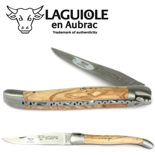 LAGUIOLE en Aubrac Taschenmesser L0212OLIF 12 cm matt, Backen matt, Griffschalen Olivenholz