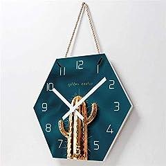 TIANYOU Wall Clock Cactus Bracket Clock Lanyard Clock Acrylic Silent Wall Clock Living Room Bedrooms Kitchen Bracket Clock 14 Inches No Ticking #5