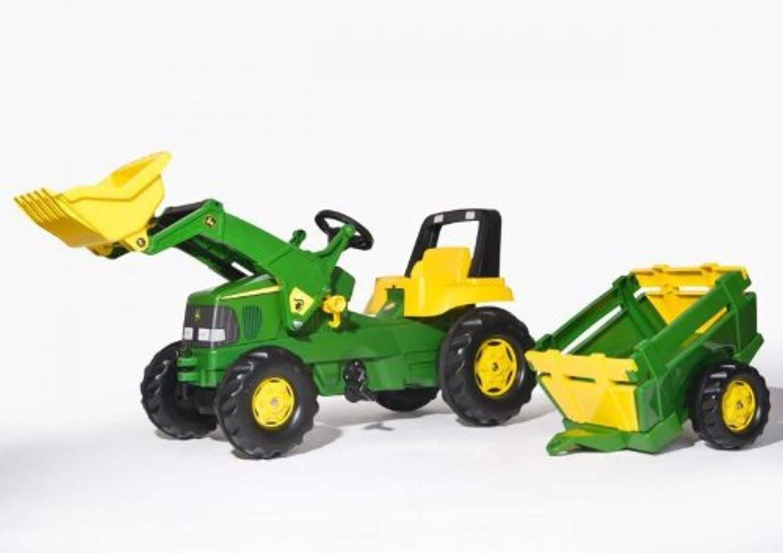 John Deere Kids Rolly Pedal Toy Tractor + Loader + Farm Trailer