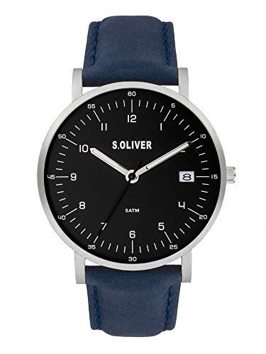 s.Oliver Herren Analog Quarz Uhr mit Echtes Leder Armband SO-3994-LQ