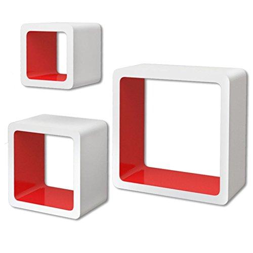 vidaXL 3 Cubos estantes exhibidores flotantes de Tablero DM Blanco-Rojo para Libros/DVD