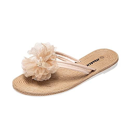 Jomix Infradito donna moda estate fiocco tulle mare spiaggia ciabatte da donna SD2176 (06 Beige, 36)