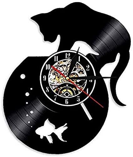 Reloj de Pared con Disco de Vinilo, Hecho a Mano para Gatos Negros y peceras, para Decorar el Reloj con Animales Personalizados para los Amantes de los Gatos.