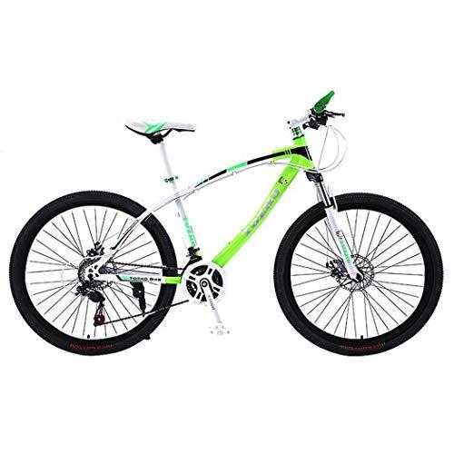 JLFSDB Mountain Bike,Unisex Hardtail Mountain Bicycles,Dual Disc Brake Front Suspension,26' Wheel,Carbon Steel Frame (Color : Green, Size : 24 Speed)