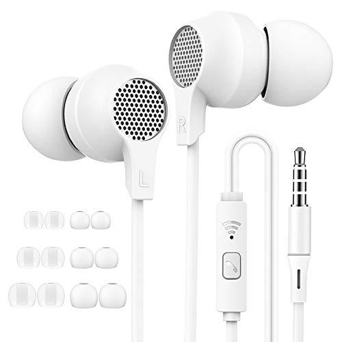 Superme Auriculares in Ear, Deportivos, con Micrófono, Control Remoto, Aislamiento de Ruido, Blanco