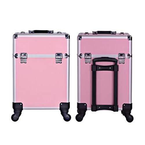 DPPAN Professionnel Aluminium Valise de Maquillage, Voyage Valise à Cosmétiques avec 360° Roulettes, Mallette à Maquillage pour Coiffure Stockage,B