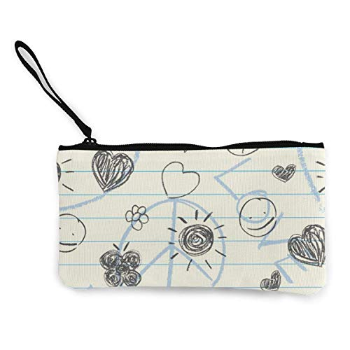 Garabatos dibujados a mano Cuaderno de trabajo Lindo monedero de lona con de moda con cremallera Bolsa de maquillaje con correa para la muñeca Bolsa de teléfono en efectivo 8.5 X 4.5 pulgadas