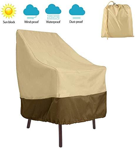 Stofhoes voor meubels, terras, stapelstoelen, waterdicht, hoge rugleuning, tuinstoel, afdekking 420D Oxford-weefsel, robuust en ademend, UV-bescherming, voor buiten