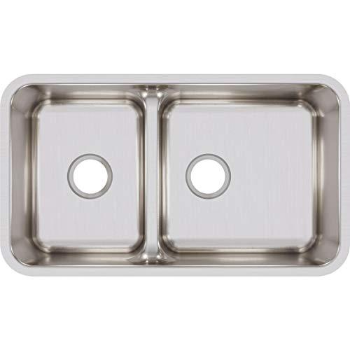 Elkay ELUHAQD32179 Lustertone Classic 40/60 Double Bowl Undermount Stainless Steel Sink with Aqua Divide