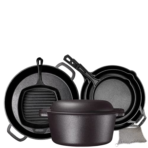 Pre Seasoned Cast Iron 8 Piece Bundle Camping Gift Set, Double Dutch, 16 inch Pizza Pan, 3 Skillets & Square Grill Pan, Kitchen And Outdoor Camping Cookware / Bakeware Set