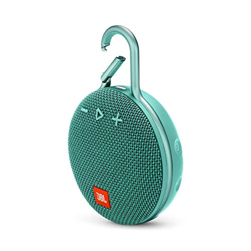 JBL JBLCLIP3TEAL Clip 3 Portable Waterproof Wireless Bluetooth Speaker - Teal, 6.5 X 4.3 X 2